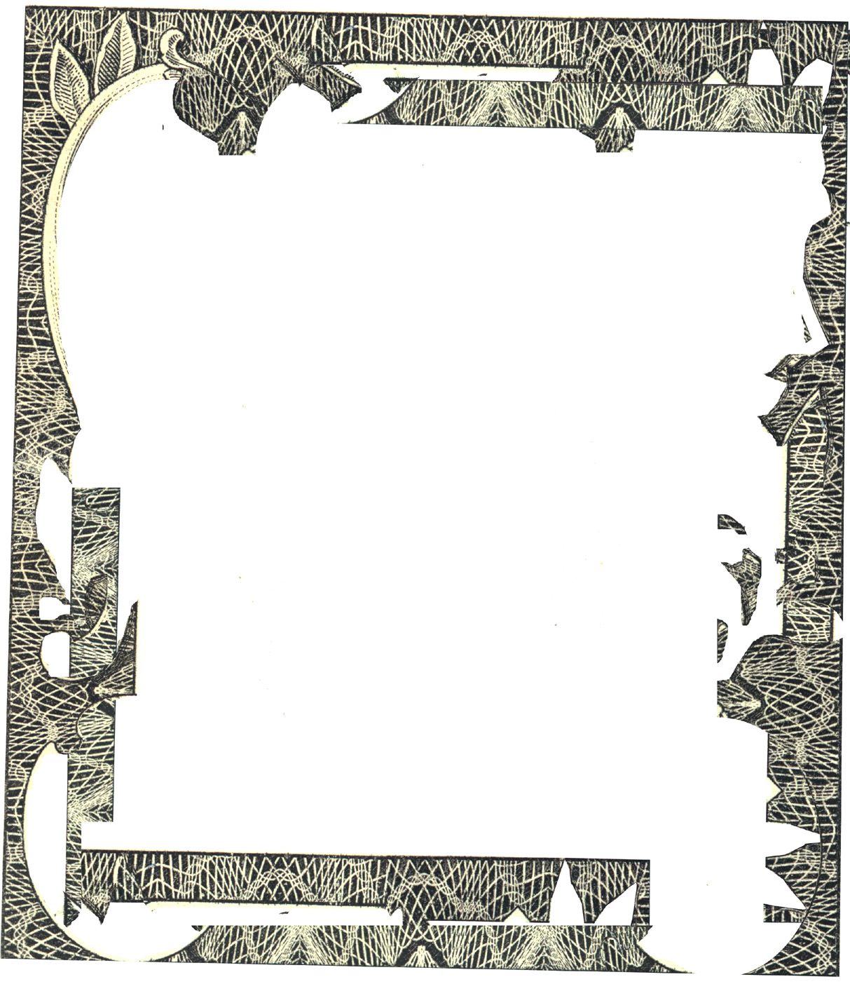 background clearly no owls no spiders just peaks in a sinusoidal like web of lines - Dollar Bill Frame